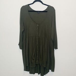Olive Green Rib Button Down Skater Dress Size 4